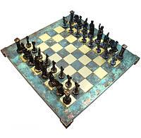 Шахматы Manopoulos Греко-римские латунь в деревянном футляре бирюзовый (S11TIR)