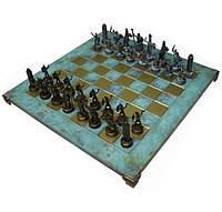 Шахматы Manopoulos Греческая мифология латунь в деревянном футляре бирюзовые (S4TIR)