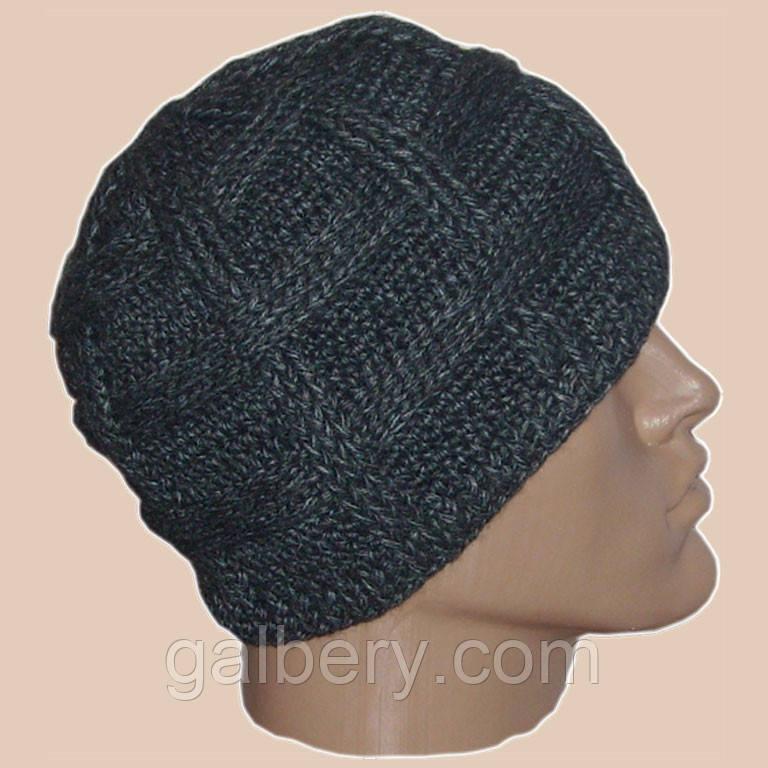 Мужская вязаная шапка объемной вязки цвета антрацит