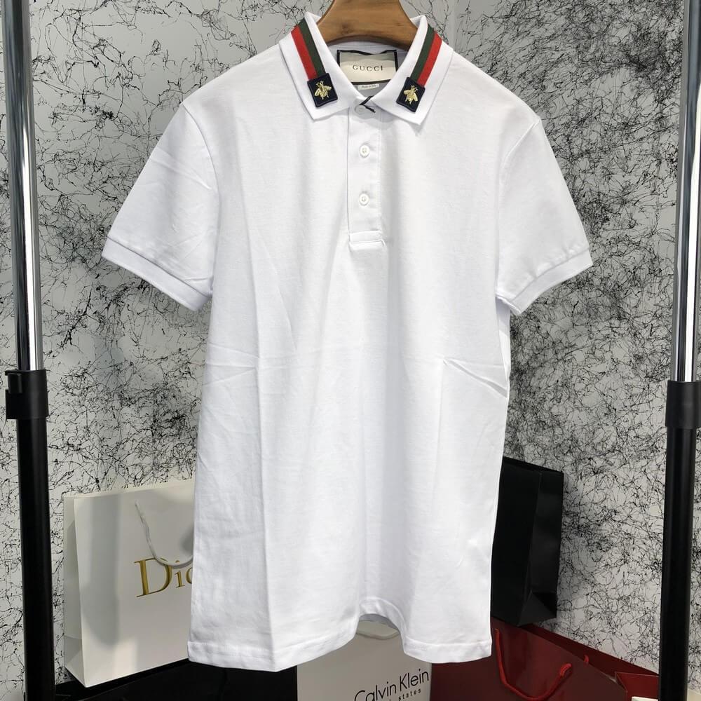 d3b669e6ef62 Футболка Gucci Cotton Polo with Web and Bee White реплика - Tali Fashion -  стильная одежда