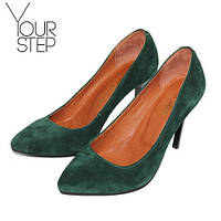 Замшевые зеленые туфли на шпильке  St35-1zz