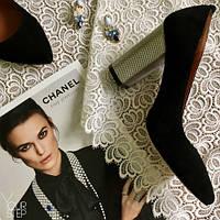Замшевые туфли черного цвета на высоком серебренном каблуке  St35-1/42ser
