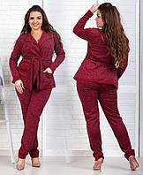 Женский костюм больших размеров 48+ кофта на запах с карманами и штаны  / 4 цвета арт 4104-538