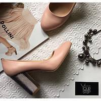 Кожаные туфли цвета пудры на принтовом  каблуке  St95-1/42Ser