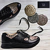 Кожаные черные кроссовки с блестящими вставками  St15-2k