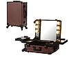 Профессиональная мобильная студия для визажиста с освещением и розеткой, шоколад
