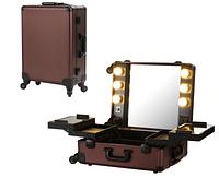 Профессиональная мобильная студия для визажиста с освещением и розеткой, шоколад , фото 1