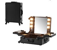 Профессиональная мобильная студия для визажиста с освещением и розеткой, черная, фото 1
