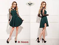 Красивое платье с кружевными рукавами