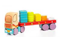 "Машина ""Тягач с геометрическими фигурами"" деревянная, в кор.35*16,5*6см.,Украина, ТМ CUBIKA (Левеня)(13425)"