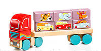 """Машина """"Тягач с кубиками"""" деревянная, в кор.35*16см.,Украина, ТМ CUBIKA (Левеня)(13432)"""