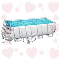 Bestway 56670 (488хх244х122см) полная комплектация, прямоугольный каркасный бассейн