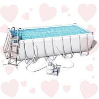 Bestway 56671 (488хх244х122см) полная комплектация с песочным фильтром, прямоугольный каркасный бассейн