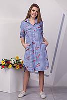 Оригинальное платье рубашка с вышивкой 129