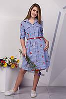 Стильное платье рубашка с вышивкой 129