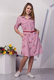 Оригинальное платье рубашка с вышивкой 129-1