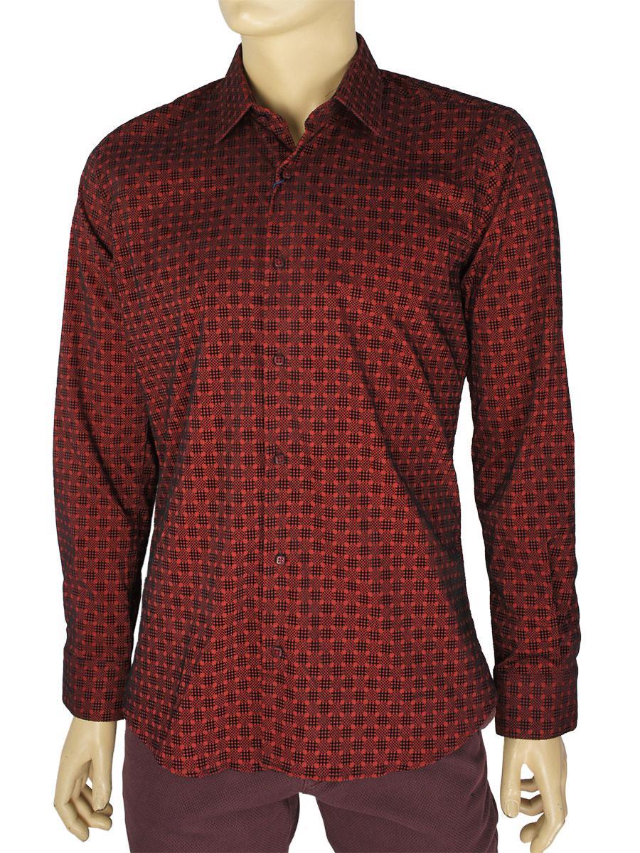 Чоловіча сорочка Negredo Art.9080 C: 12 в бордовому кольорі