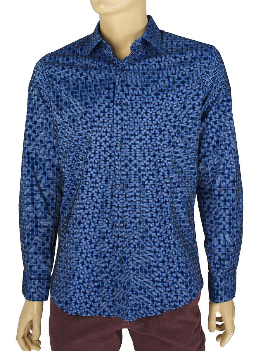 Синя чоловіча сорочка Negredo Art.9080 C: 11 з оригінальним принтом