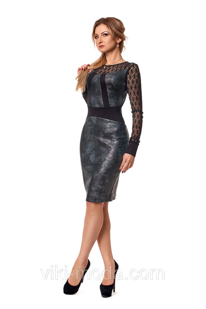 Платье-футляр с гипюрными рукавами и спинкой