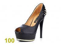 Женские туфли с открытым носком (черные)