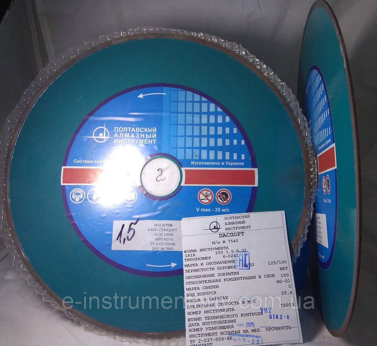Алмазный круг отрезной (1А1R)250х1,5х5х32 АС32 Связка М2-01