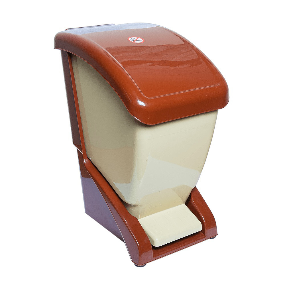 Відро для сміття з педаллю 12 л коричнево-бежевий