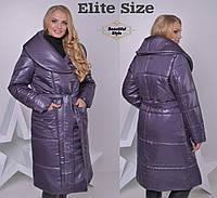 Женское пальто из плащёвки с поясом, фото 1
