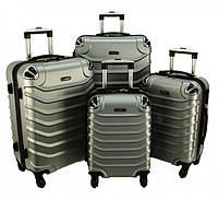 Комплект чемоданов RGL 730 4 в 1 Серебряный, набор чемоданов на колесиках