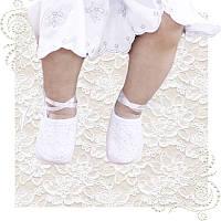 Пинетки белые нарядные для крещения на выписку