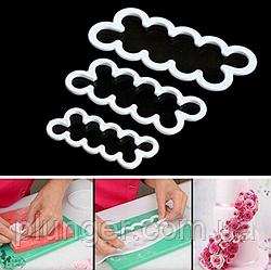 Набор вырубок кондитерских для мастики, марципана, теста Роза из 3 шт, пластик