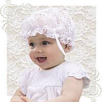 Шапочка кружево белая нарядная для крещения на выписку для девочки