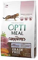 Беззерновой сухой корм для кошек OPTIMEAL - (DUCK&VIGETABLES) с уткой и овощами 4КГ