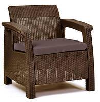 Кресло из искусственного ротанга Corfu Duo, коричневый