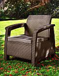 Кресло из искусственного ротанга Corfu Duo, коричневый, фото 3