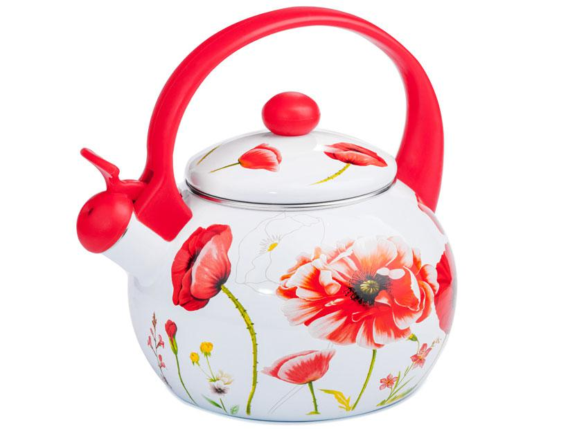 Чайник эмалированный 2,2 л Мак красный 10С0118