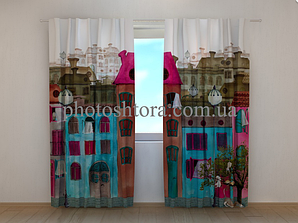"""Фото шторы """"Красочная улица"""" 250 х 260 см"""