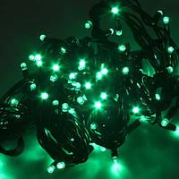 Световая led гирлянда НИТЬ 10м ЧЕРНЫЙ КАУЧУК зеленый