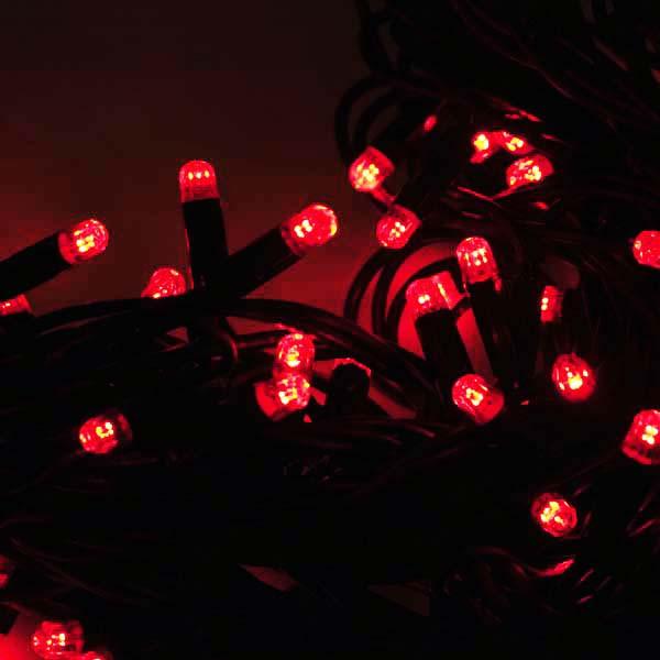 Световая led гирлянда НИТЬ 10м ЧЕРНЫЙ КАУЧУК красный