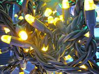 Световая led гирлянда НИТЬ 10м ЧЕРНЫЙ КАУЧУК желтый