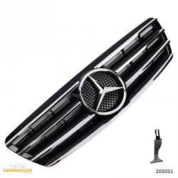 Решетка радиатора Mercedes W203 в стиле CL AMG (черный глянц + хром полоски)