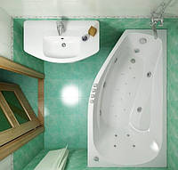 Гидромассажная ванна с врезным смесителем Triton Скарлет левая, 1670х960х580 мм
