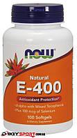 Витамин E-400 с токоферолом и селеном, Now Foods, 100 softgels