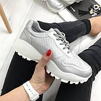 Только 36 размер 23 см! Женские кроссовки серебро на шнурках