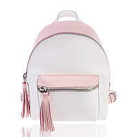 Рюкзак кожаный бело-розовый М, фото 1