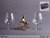 Набор бокалов для коньяка из 2 шт 500 мл подарочный с фигуркой Franco Лошадь 13 см, 316-727