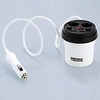 Автомобильное зарядное устройство Remax Demitasse CR-2XP 2*AutoPlug 2*USB (White-Brown), фото 1
