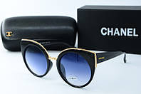 Солнцезащитные очки круглые Chanel черные, фото 1