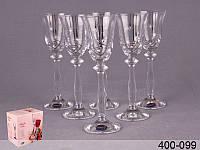 Набор стопок для водки 60 мл Crystalex Angela серпантин, платина, 6 шт, 400-099