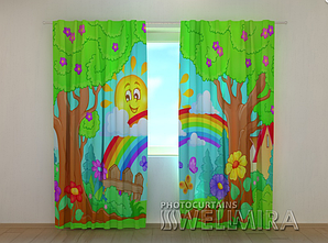 "Фото шторы ""Солнышко и радуга"" 250 х 260 см"