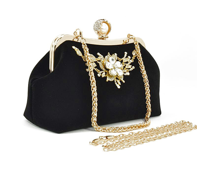 Клатч сумочка вечерняя женская велюровая черная Rose Heart 1752